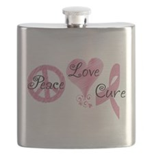 Peace Love Cure (Pink Ribbon) Flask