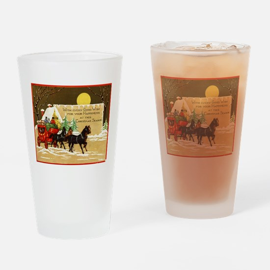 Christmas Horse and Buggy Drinking Glass