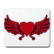 heart wings tribal floral crown Mousepad