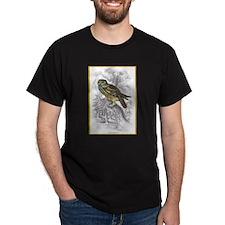 Night Owl Bird (Front) Black T-Shirt