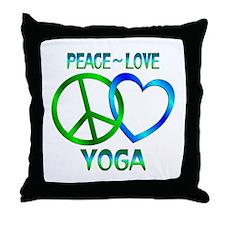Peace Love Yoga Throw Pillow