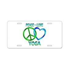 Peace Love Yoga Aluminum License Plate