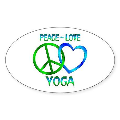 Peace Love Yoga Sticker (Oval)
