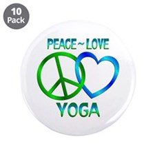 """Peace Love Yoga 3.5"""" Button (10 pack)"""