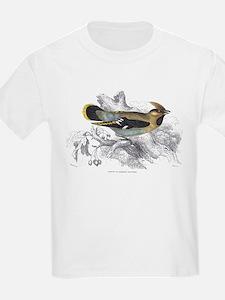 Bohemian Chatterer Bird (Front) Kids T-Shirt