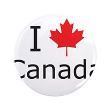 "I Maple Leaf Canada 3.5"" Button"