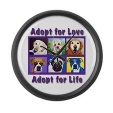 Adopt for Love, Adopt for Life Large Wall Clock