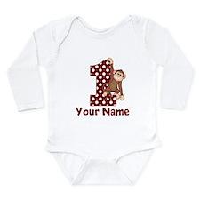 1st Birthday Monkey Red Long Sleeve Infant Bodysui