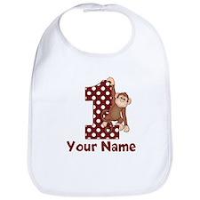 1st Birthday Monkey Red Bib
