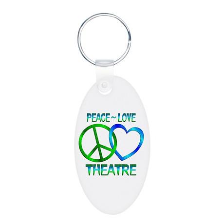 Peace Love Theatre Aluminum Oval Keychain