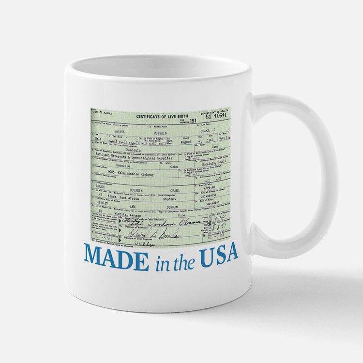 Barack Obama Made In The USA Birth Certificate Mug