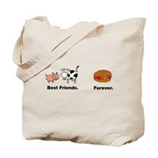 Cow Pig Best Friends Bacon Hamburger Tote Bag