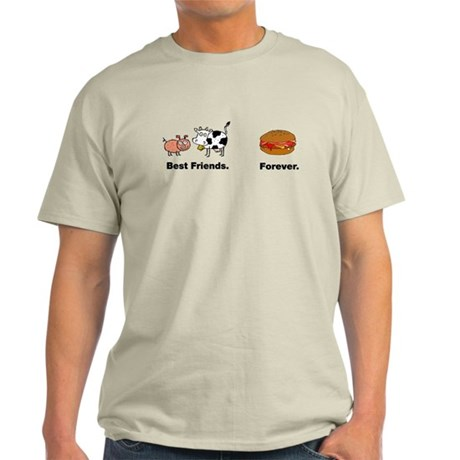 Cow Pig Best Friends Bacon Hamburger Light T-Shirt