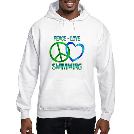 Peace Love Swimming Hooded Sweatshirt