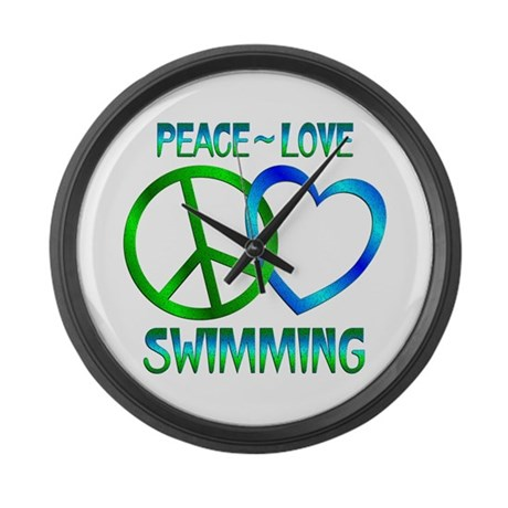 Peace Love Swimming Large Wall Clock