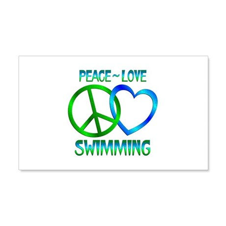 Peace Love Swimming 20x12 Wall Decal