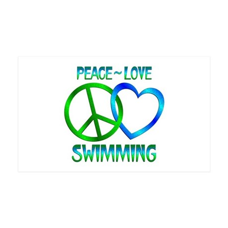 Peace Love Swimming 35x21 Wall Decal