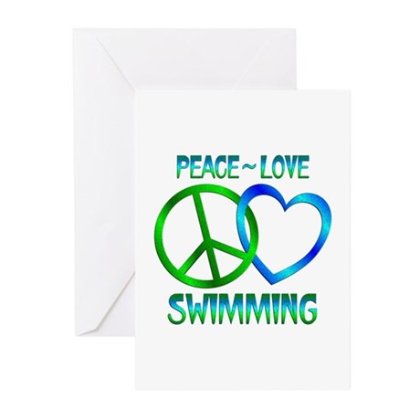 Peace Love Swimming Greeting Cards (Pk of 10)