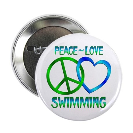 "Peace Love Swimming 2.25"" Button"