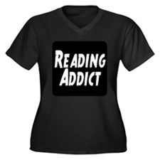 Reading addict Women's Plus Size V-Neck Dark T-Shi
