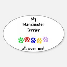 Manchester Terrier Walks Oval Decal