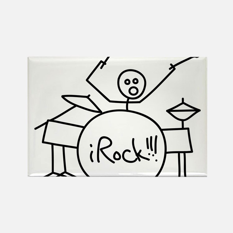 iRock Stick Man Playing Drums Rectangle Magnet (10