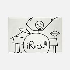 iRock Stick Man Playing Drums Rectangle Magnet