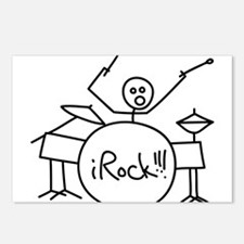 iRock Stick Man Playing Drums Postcards (Package o
