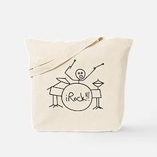 iRock Stick Man Playing Drums Tote Bag