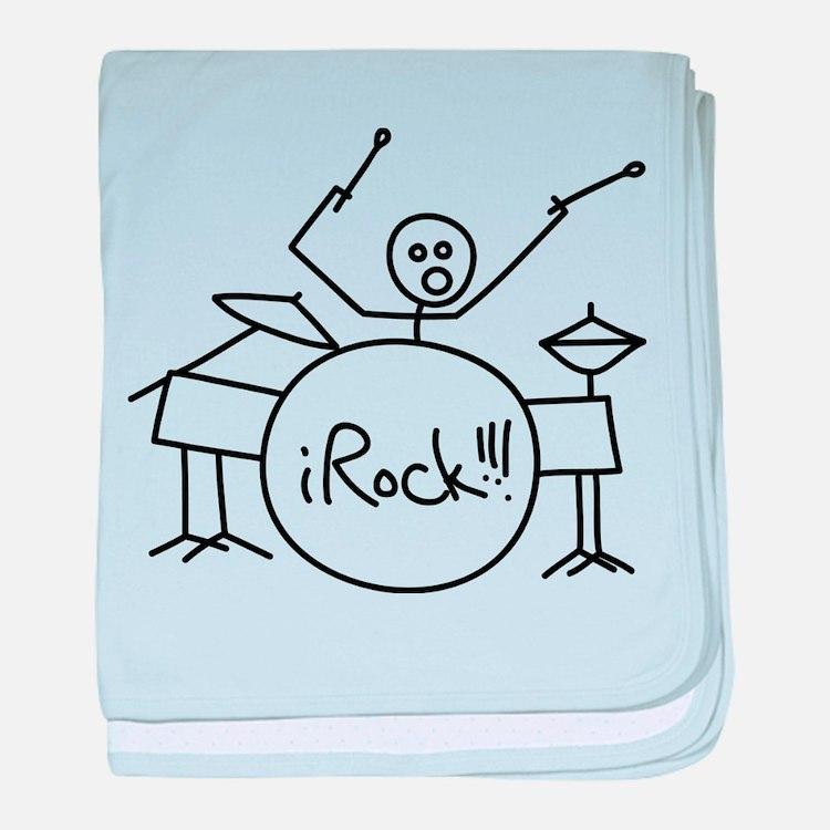 iRock Stick Man Playing Drums baby blanket