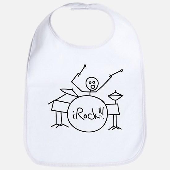 iRock Stick Man Playing Drums Bib