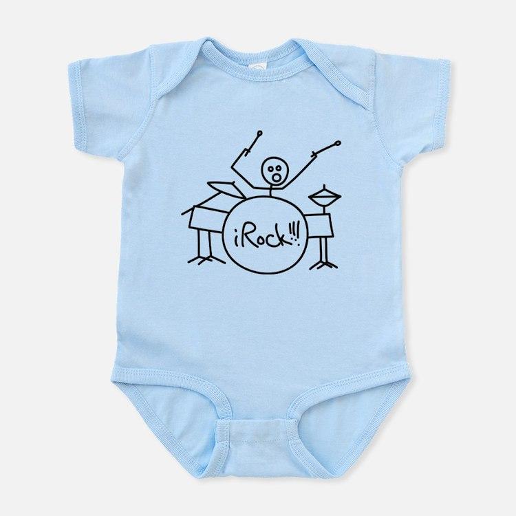 iRock Stick Man Playing Drums Infant Bodysuit