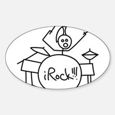 iRock Stick Man Playing Drums with Mohawk Bumper Stickers
