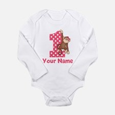 First Birthday Girl Monkey Long Sleeve Infant Body