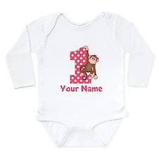 First Birthday Girl Monkey Onesie Romper Suit