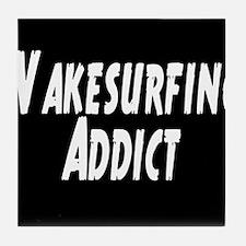 Wakesurfing addict Tile Coaster