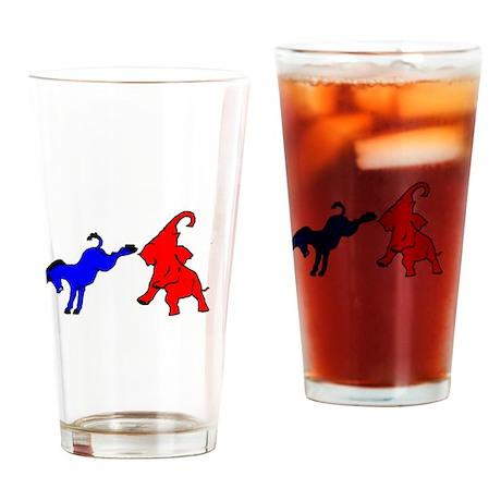 Donkey kicking Elephant Drinking Glass