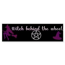 Witch behind the wheel Bumper Stickers