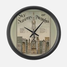 Skyscrapers Of Philadelphia Large Wall Clock