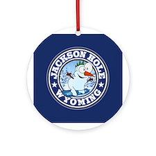 Jackson Hole Snowman Circle Ornament (Round)