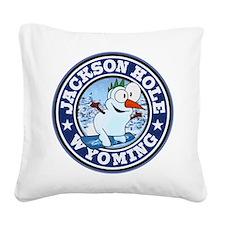 Jackson Hole Snowman Circle Square Canvas Pillow