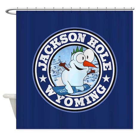 Jackson Hole Snowman Circle Shower Curtain