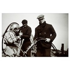 Historical diving suit Poster
