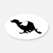 Running Silken Windhound Oval Car Magnet