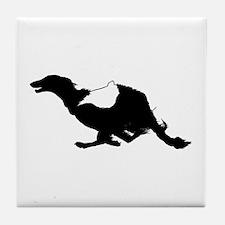 Running Silken Windhound Tile Coaster