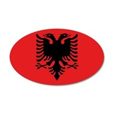 Flag of Albania 35x21 Oval Wall Decal