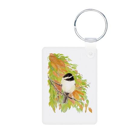 Autumn Chickadee Aluminum Photo Keychain