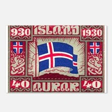 1930 Iceland Flag Postage Stamp Postcards (Package