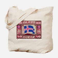 1930 Iceland Flag Postage Stamp Tote Bag