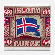 1930 Iceland Flag Postage Stamp Tile Coaster